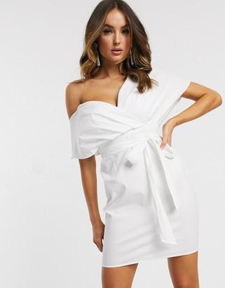 Asos Design DESIGN cotton fallen shoulder mini dress-White