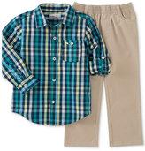 Kids Headquarters Baby Boys' 2-Pc. Plaid Shirt & Pull-On Pants Set