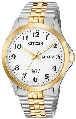 Citizen Quartz Mens Two Tone Stainless Steel Bracelet Watch-Bf5004-93a Family