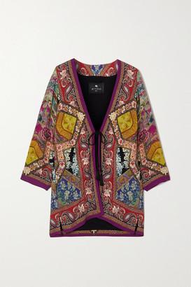Etro Printed Satin Kimono Jacket - Red