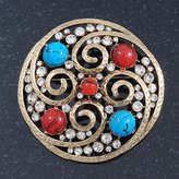 Avalaya Large Vintage Round Turquoise Stone, Crystal Brooch (Gold Tone) - 67mm Diameter