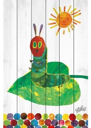 Eric Carle Sunning Caterpillar Art Print on White Pine Wood