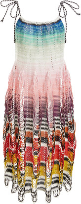 Missoni Mare Striped Jersey-Knit Knee-Length Cover Up Dress
