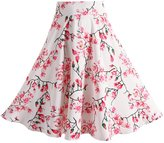 Fancyqube(TM) Women's Pleated Vintage Skirts Floral Print Midi Skirt M