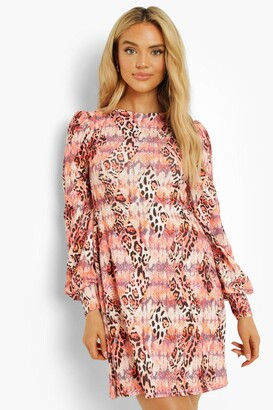 boohoo Animal Print Puff Sleeve Shift Dress