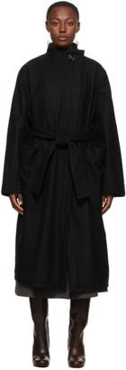 Lemaire Black Wool Wrapover Coat