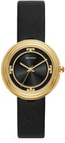 Tory Burch Bailey Goldtone Stainless Steel & Black Leather Strap Watch