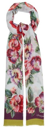 Dolce & Gabbana Violet Floral-print Modal-blend Scarf - Pink Multi