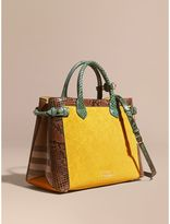 Burberry The Medium Banner in Leather, Python and House Check, Yellow