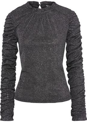 Walter Baker Ruched Metallic Knitted Top