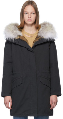 Yves Salomon Army Black Down and Fur Cotton Parka