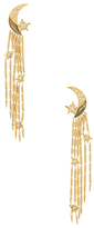 Maiyet 18K Yellow Gold, Labradorite Moon & 0.37 Total Ct. Diamond Shooting Star Chandelier Earrings