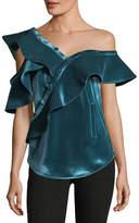 Self-Portrait Sleeveless Asymmetric Velvet Frill Shirt