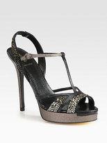 Fendi Zelda Lizard-Print Leather & Crystal-Coated Sandals