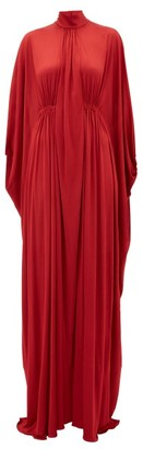 Valentino Cape Draped Satin Gown - Red