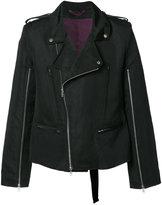 Ann Demeulemeester zip up biker jacket - men - Cotton/Linen/Flax/Rayon/Acetate - S
