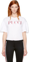 Emilio Pucci White and Pink Glitter Logo T-shirt