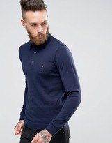 Farah Knitted Polo Shirt In Merino Wool Slim Fit Navy