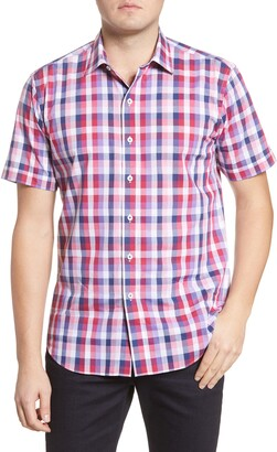 Bugatchi Shaped Fit Check Short Sleeve Button-Up Shirt