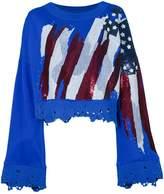 Amen distressed beaded cropped sweatshirt