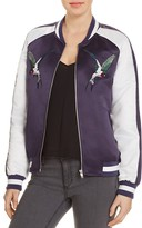 Bagatelle Embroidered Bird Color Block Bomber Jacket