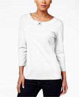 Karen Scott Scoop-Neck Embellished Top, Only at Macy's