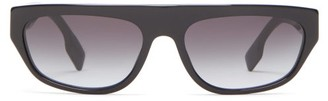 Burberry Flat-top Rectangular Acetate Sunglasses - Womens - Black