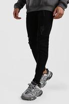 boohoo Mens Black Skinny Jeans With Abrasions, Black
