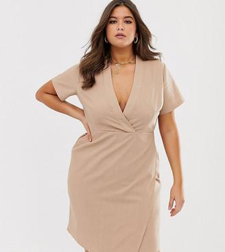Unique21 natural linen short sleeve wrap dress