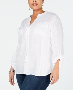 INC International Concepts Inc Plus Size Split-Neck Button-Up Shirt, Created for Macy's