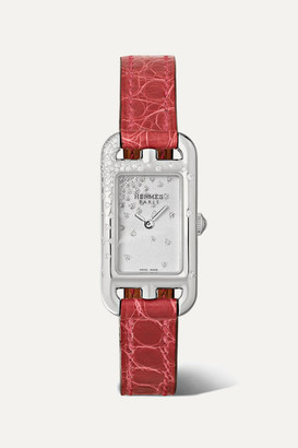 HERMÈS TIMEPIECES Nantucket Jete De Diamants 17mm Very Small Stainless Steel, Alligator And Diamond Watch - Silver