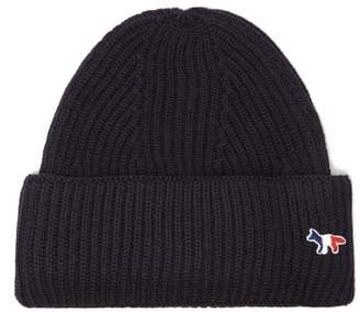 MAISON KITSUNÉ Tricolour Fox Ribbed Wool-blend Beanie Hat - Mens - Navy