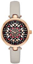 Kate Spade New York Analog Stop and Smell the Roses Mosaic Leather Strap Watch