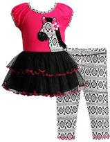 Sweet Heart Rose Sweetheart Rose Girls 2-6x Two-Piece Zebra Knit Mini Dress and Leggings Set
