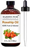 Fine Lines Rosehip Oil for Face, Nails, Hair and Skin From Majestic Pure - 100% Pure, Organic Cold Pressed Premium Rose Hip Seed Oil, 4 oz