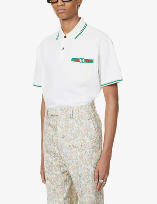 Gucci Striped-trim logo-embroidered cotton-jersey polo shirt