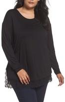 Sejour Plus Size Women's Lace Hem Tee