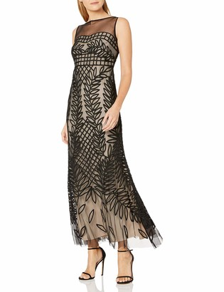 JS Collections Women's Embroidered Illusion Gown