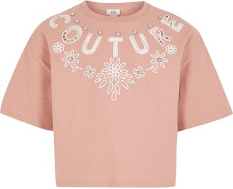River Island Girls Pink 'Couture' cut out crop T-shirt