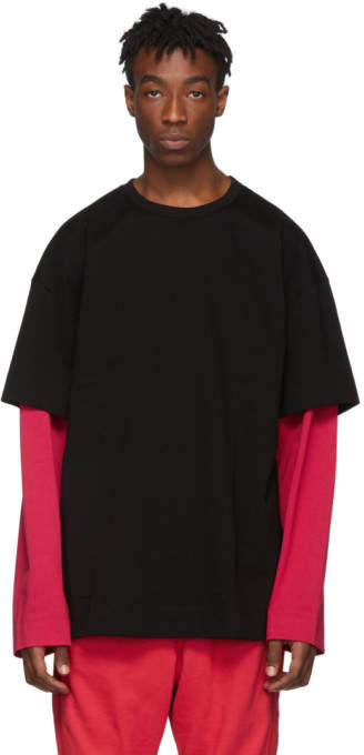 89b21d048 SSENSE Exclusive Black and Red Layered Long Sleeve T-Shirt