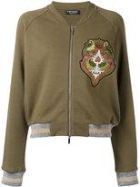 Twin-Set glittery detail bomber jacket - women - Cotton/Acrylic/Metallic Fibre - XS