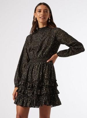 Dorothy Perkins Womens Gold Woven Foil Mini Dress, Gold