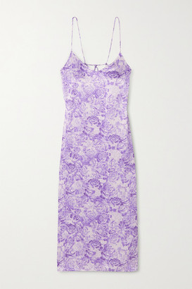 Ganni Floral-print Satin Midi Dress - Violet