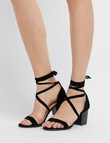 Charlotte Russe Bamboo Lace-Up Two-Piece Sandals