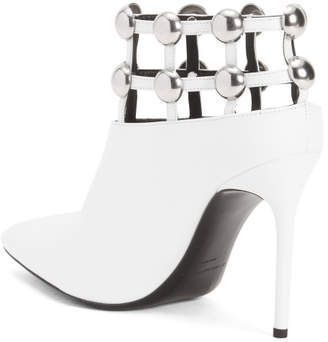 Pointy Toe Studded Leather Ankle Booties