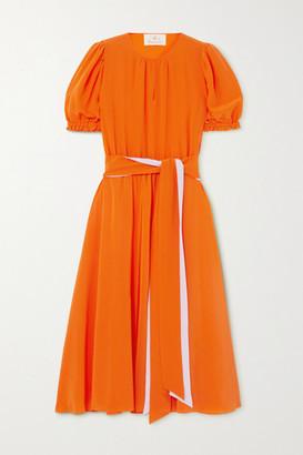 ARoss Girl x Soler Ines Belted Silk Crepe De Chine Dress - Orange