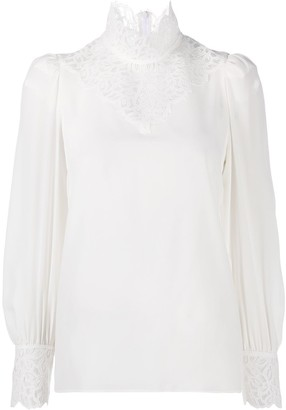 Sandro Lace-Panel High-Neck Blouse
