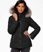 Calvin Klein Water-Resistant Hooded Faux-Fur-Trim Puffer Coat