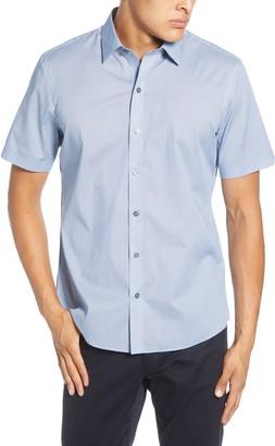 Zachary Prell Janac Regular Fit Short Sleeve Button-Up Stretch Cotton Shirt