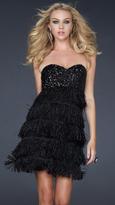 La Femme Black Feathery Empire Waist Cocktail Dress 17078